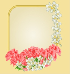Frame with pink hibiscus and jasmine greeting card vector