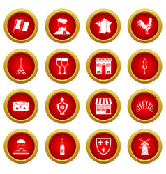 France travel icon red circle set vector