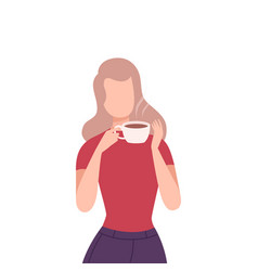 Girl drinking coffee young blonde woman character vector