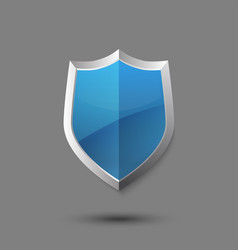 glossy steel shield protection symbol for vector image