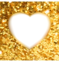Gold glitter frame heart vector