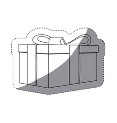 Grayscale contour sticker with rectangular gift vector