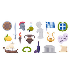 greece objects traditional ancient old greek vector image