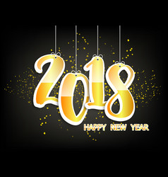 happy new year 2018 with golden paper vector image