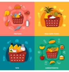 Healthy Food Supermarket Basket Composition vector