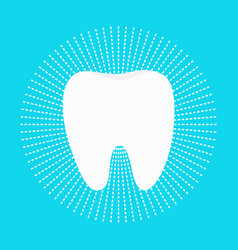healthy white tooth round icon dash line circle vector image