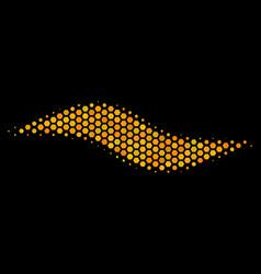 hexagon halftone wave shape icon vector image