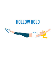 Hollow hold correct exercise image flat vector