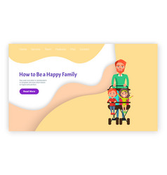 How to be happy family father with children page vector