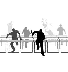 Hurdling businessmen vector