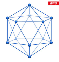 Icosahedron With Molecular Style Vector