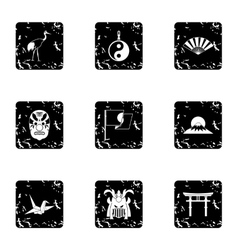Japan icons set grunge style vector