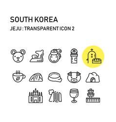 jeju island with line transparent design korea vector image