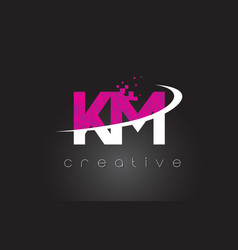 Km k m creative letters design with white pink vector