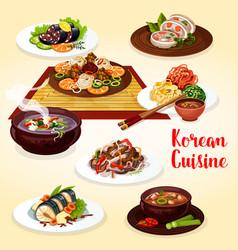 Korean cuisine veggies meat and fish dishes vector