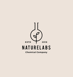 Leaf lab nature hipster retro vintage logo badges vector