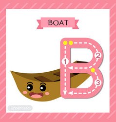 Letter b uppercase tracing boat vector