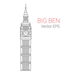 line icon big ben tower london vector image