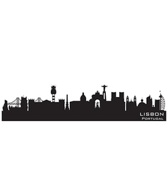Lisbon Portugal skyline Detailed silhouette vector