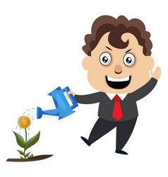 man watering plant on white background vector image