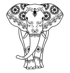 Mehndi tattoo elephant decorated in indian style vector
