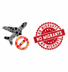 Mosaic airplane closed with textured no migrants vector