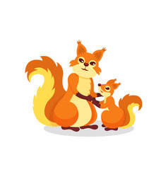 mother squirrel and her little baby cute forest vector image