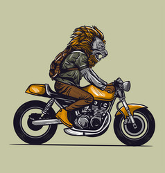 motorcycle rider with lion head vector image