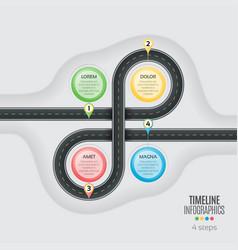 navigation map infographic 4 steps timeline vector image