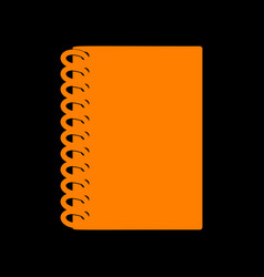 notebook simple sign orange icon on black vector image