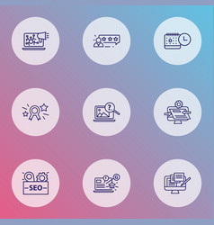 optimization icons line style set with customers vector image