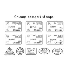 passport stamps chicago usa arrival and vector image