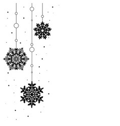 pattern garland black silhouette with snowflake vector image