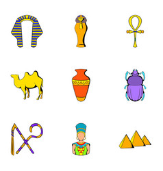 pharaoh icons set cartoon style vector image