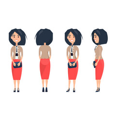 Pretty woman in red skirt and beige blouse purse vector