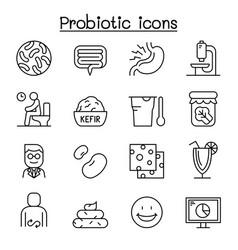 Probiotics bacteria icon set in thin line style vector
