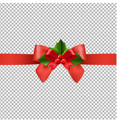 red ribbon with holly berry transparent background vector image