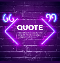 Retro neon glowing quote marks frame on wall vector