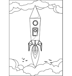 Rocket Flying into Space Through the Sky with vector image