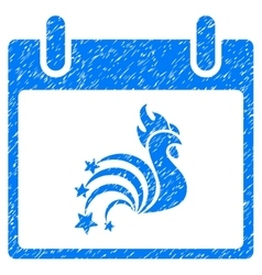 Rooster Fireworks Calendar Day Grainy Texture Icon vector