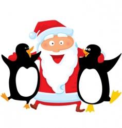 Santa with penguin vector