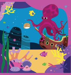 Sea story octopus and bubblefish vector