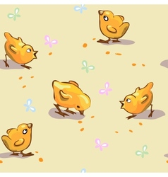 Seamless Chickens And Butterflies vector image