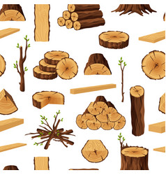 Seamless pattern of firewood materials vector