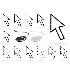 set arrows and mice for computer a i vector image