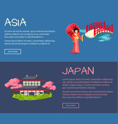 set asia and japan flat web banners vector image