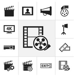 Set of 12 editable filming icons includes symbols vector