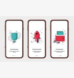 Set start screens for mobile app design shield vector