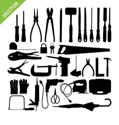 set tools silhouette vector image