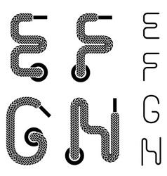 Shoe lace alphabet letters E F G H vector